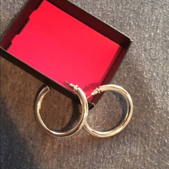 Avon Jewelry - NEW AVON HOOP EARRINGS SILVERTONE